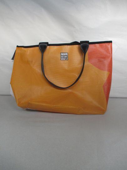 Strandtas groot Oranje - wit